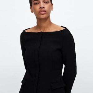 Zara off shoulder or boat neck black blazer